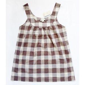 Checkered/Plaid Semi-Sheer Sleeveless Tunic Top S